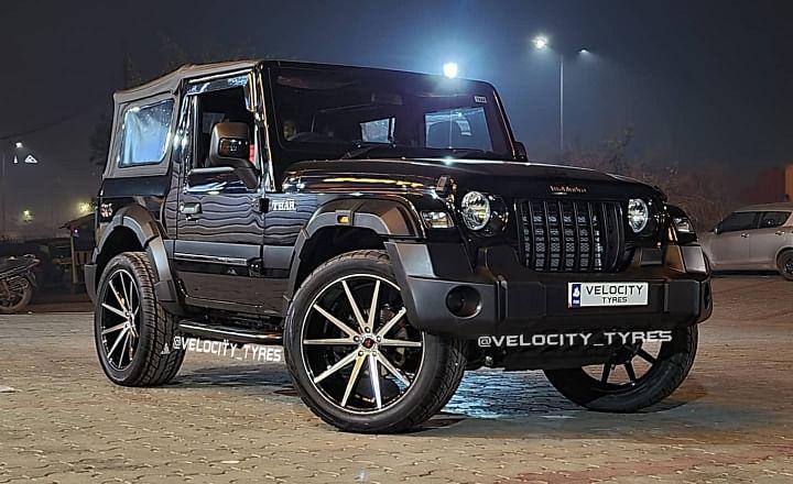 Modified 2020 Mahindra Thar 22-inch alloy wheels