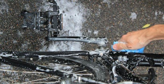 washing a bicycle