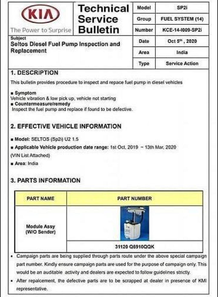 Diesel Kia Seltos Faulty Fuel Pump Image